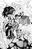 New 52 JLA Last Stand Black and White by EricJ-art