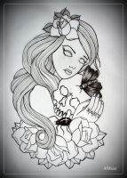 ALWAYS TOGETHER tattoo flash OUTLINE by oldSkullLovebyMW