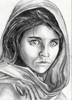 Famous Afghan Girl by annasartworks