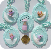 Kawaii Wintern Cameos Necklaces by Bojo-Bijoux