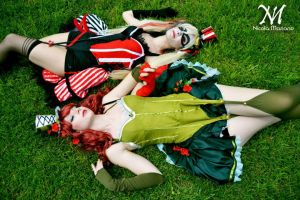Poison ivy and Harley Quinn steampunk version by nonsochenomedare