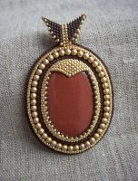 'Aladin'- bead embroidered pendant with goldstone by nikkichou