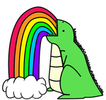 Dinosaur Puking Rainbows_ by I-unno