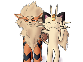 Meowth and Arcanine by Pokecrz