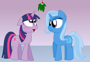 Twixie under the mistletoe by Stacyisback