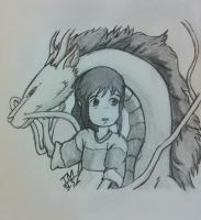 Chihiro and Haku From Spirited by TinyTinaa