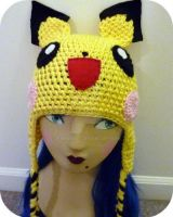 Custom Crochet Pichu Beanie by AAMurray