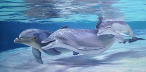HAPPY DOLPHIN FAMILY by Mendrinos
