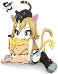 Kitten Pile - FT OC (Laxus and Naila chibi) by FlyingDragon04