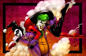 Joker and Harley Quinn - Colored by LadyOrange