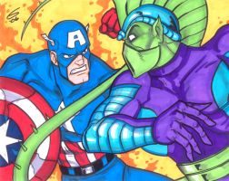 Captain America vs Death Adder by grantgoboom