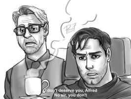 Alfred and Bruce by pencilHead7