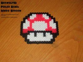 Perler Bead Hot Pink Mario Shroom by Senwolf10