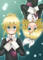 Rin and Len Kagamine - Upside down - color by LadyGalatee