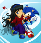 AT Rosey and Sonic by Domestic-hedgehog