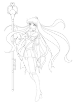 Sailor Pluto giftart, lineart by Myztic-Beauty