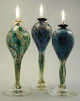 tall oillamps by Bendzunas-Glass