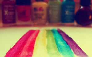 rainbow nail polish by normaajean