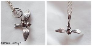 Hand made silver bird by MirielDesign
