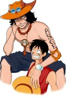 Luffy and Ace by Ekcess