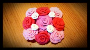 Pale pink rose cluster scrap magnet by KitschyCustomCrafts