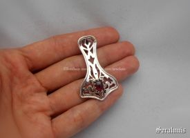 'Thor' hammer with garnet' sterling silver pendant by seralune