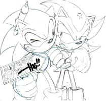 classic sonic and shadow sketch by trunks24