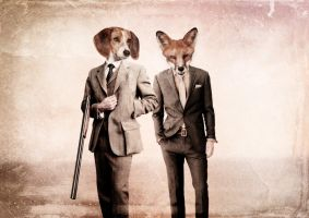 Fox and Hound by LoveableRagdoll