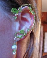 Elven Ear Cuffs with genuine Peridot and Pearls by jhammerberg