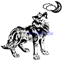 Howling wolf - tattoo design by Velvet-Loz