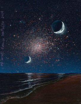 Globular cluster as seen from alien beach. by Axel-Astro-Art