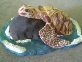 Sea Turtle Sculpture by KornVoodooDoll