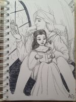 Inktober Day 10: Adam and Belle by DavinaW