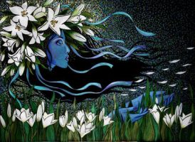 White Lilies 80x90cm 2010 by AlesyavonMeer