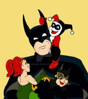 Batman and the kids by xero87
