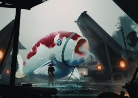 The Giant Eastern Land Fish by Hideyoshi