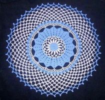 White and Blue Doily by ladytech