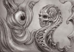 Traditional pencil dark Surreal improvisation by diginai