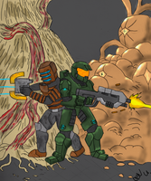 masterchief-isaac teamup DONE by wolf117M