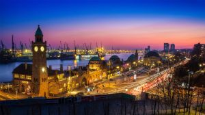 Sunset at Hamburg Landungsbruecken by Torsten-Hufsky