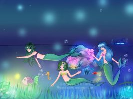 Mermaids in the night by magicbut3rfly