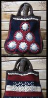 crochet hand bag with can openers by DarkDollArt