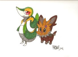 Pokemon-Snivy,Lillipup by Davidbatmanfan