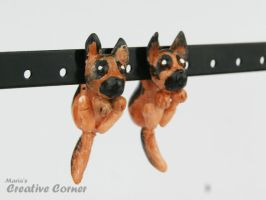 German Shepherd Dog earrings by Maria-M--aka--Bakura