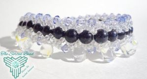 Beaded Flat Spiral Bracelet, Blue Goldstone and Vi by TheSortedBead