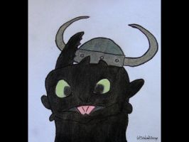 Toothless with Viking helmet by SinbadHiccup