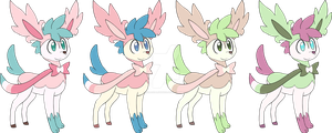 [CLOSED] Shaymin-Deerling-Sylveon adoptables by Nutty-Nutzis