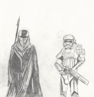 Royal Guard and Desert Trooper sketch by Purpl3Zoroa
