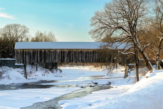 Snow Covered Bridge by Riot207Photography