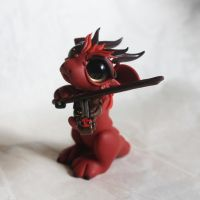 Red violinist dragon by BittyBiteyOnes